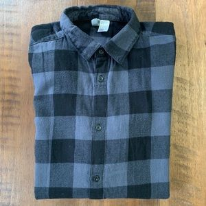 H&M Long line flannel shirt with zip detail